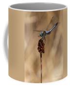 Blue Dragonfly On Brown Reed Coffee Mug