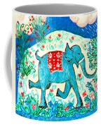 Blue Elephant Facing Right Coffee Mug