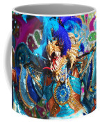 Blue Feather Carnival Costume And Colorful Background Horizontal Coffee Mug