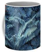Blue Fern Leaves Abstract. Nature In Alien Skin Coffee Mug