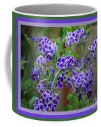 Blue Flowers With Colorful Border Coffee Mug