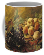 Blue Grapes And Peaches In A Wicker Basket Coffee Mug