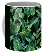 Blue Green Watercolor Tropical Leaves Coffee Mug
