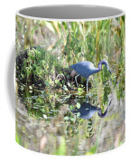 Blue Heron Fishing In A Pond In Bright Daylight Coffee Mug