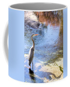 Blue Heron With Shadow Coffee Mug