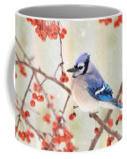 Blue Jay In Snowfall Coffee Mug