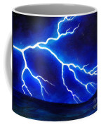 Blue Lightning Above The Ocean Coffee Mug