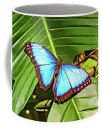 Blue Morpho Butterfly 2 - Paint Coffee Mug
