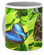 Blue Morpho Butterfly Diptych Coffee Mug