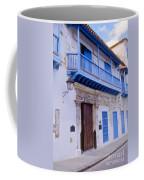 Blue Trim On White Building Coffee Mug