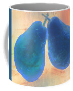 Blue Pears On Soft Peach Coffee Mug