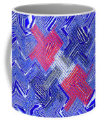 Blue Red And White Janca Abstract Panel Coffee Mug