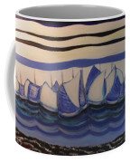 Blue Sailing Boats In The Harbour Coffee Mug
