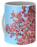 Blue Sky Floral Art Print Pink Dogwood Tree Flowers Baslee Troutman Coffee Mug