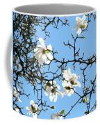 Blue Sky Floral Art White Magnolia Tree Coffee Mug