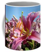 Blue Sky Floral Landscape Pink Lilies Art Prints Canvas Baslee Troutman Coffee Mug