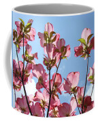 Blue Sky Landscape White Clouds Art Prints Pink Dogwood Flowers Baslee Troutman Coffee Mug