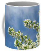 Blue Sky White Clouds Landscape Art White Tree Blossoms Spring Coffee Mug