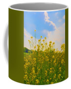 Blue Sky Yellow Flowers Coffee Mug