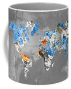 Blue Street Art World Map Coffee Mug