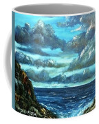 Blue Sunset Oil Beach Painting Coffee Mug