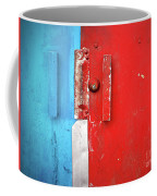 Blue Wall Red Door Coffee Mug