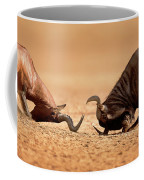 Blue Wildebeest Sparring With Red Hartebeest Coffee Mug