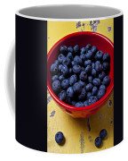Blueberries In Red Bowl Coffee Mug