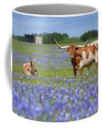 Bluebonnets And Longhorns 4 Coffee Mug
