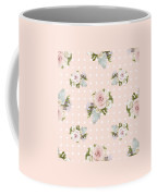 Blush Pink Floral Rose Cluster W Dot Bedding Home Decor Art Coffee Mug