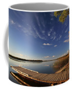 Boat Dock And Autumn Trees Along A Saskatchewan Lake Coffee Mug