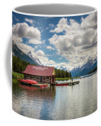 Boat House And Canoes On A Jetty At Maligne Lake In Canada Coffee Mug