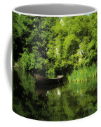 Boat Reflected On Water County Clare Ireland Painting Coffee Mug