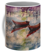 Boat Reflections Watercolor Painting Coffee Mug