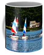 Boat - Striped Sails Coffee Mug