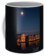 Boathouse Reflections With Moonset Coffee Mug