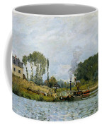 Boats At The Lock At Bougival Coffee Mug