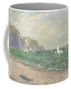 Boats Below The Cliffs At Pourville Coffee Mug by Claude Monet