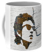 Bob Dylan Minnesota Native Recycled Vintage License Plate Portrait On White Wood Coffee Mug