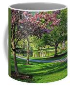 Boston Public Garden Pond Through The Cherry Blossom Spring Day Coffee Mug