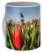 Boston Public Garden Tulips And George Washington Statue 2 Coffee Mug