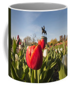Boston Public Garden Tulips And George Washington Statue Coffee Mug