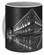 Boston Public Library Rainy Night Boston Ma Black And White Coffee Mug