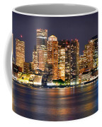 Boston Skyline At Night Panorama Coffee Mug
