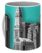 Boston Skyline - Graphic Art - Cyan Coffee Mug