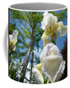Botanical Landscape Trees Blue Sky White Irises Iris Flowers Coffee Mug