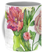 Botanical Vintage Style Watercolor Floral 3 - Peony Tulip And Rose With Butterfly Coffee Mug