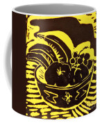 Bowl Of Fruit Black On Yellow Coffee Mug