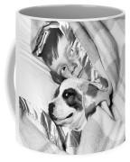 Boy And Dog Hiding Under Blanket Coffee Mug