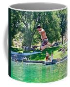 Boy Jumping Off The Board Into Dierkes Lake In Snake River Near Twin Falls-idaho   Coffee Mug